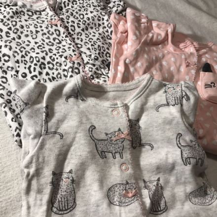 0-0 1ST Size Cats Sleepsuits.